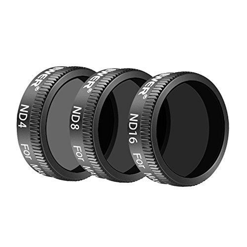 Neewer 3 Pieces Pro Neutral Density Filter Kit for DJI Mavic Air Drone Quadcopter Includes: ND4, ND8, ND16 Filter, Made of Multi Coated Waterproof Aluminum Alloy Frame Optical Glass(Black)