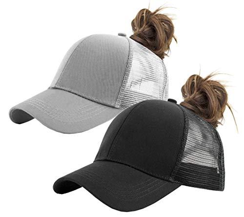 FGSS Solid Ponytail-Hat Baseball Cap Cotton Mesh High-Bun Pony Cap Women (Black+Grey 2pc)