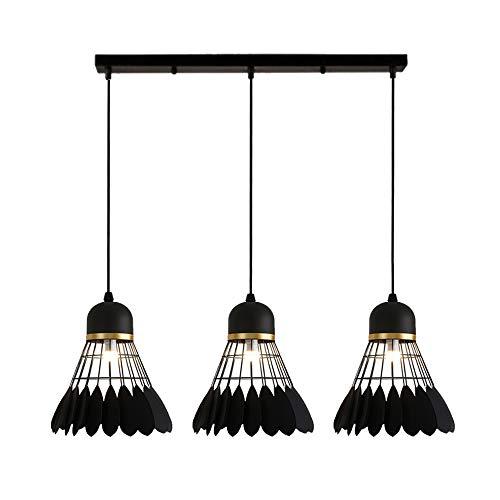 Suspension Luminaire Industrielle Vintage Rétro Plafonnier Métal Noir, Lustre Abat-Jour en Forme Badminton E27 pour Chambre Salle à Manger Café, 3 Lampes