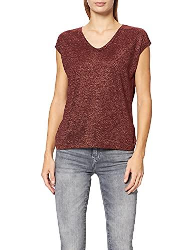 Only ONLSILVERY S/S V Neck Lurex Top JRS Noos Camiseta, Rojo (Wax Henna Wax Henna), Medium para Mujer