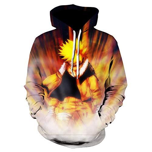 TSHIMEN Pull Champion Homme Naruto 2019 Pull Mode Japonais Anime Vortex Naruto Sasuke Kakashi Automne et Hiver Sweat à Capuche Impression numérique 3D lâche décontracté-Orange XXX