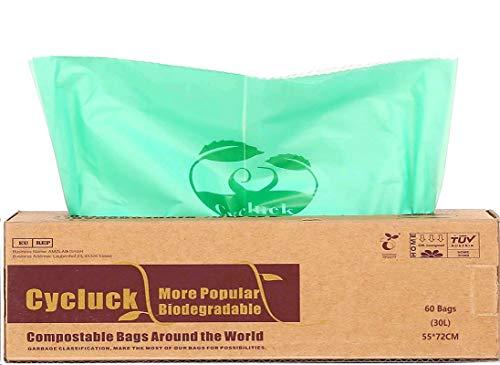 Cycluck 60 Sacs 30L 100% Biodégradable et Compostable 6L 10L 30L Sacs Poubelle en 13432, Fabriqué à partir d'amidon de maïs (30L)