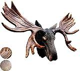 TOPNIU Arte de la Pared Statuewall Art, Retro Gran Ciervo Cabeza Escultura, Simulación Pared Colgando decoración Resina, artesanía Regalo (Color : Black+Brown, Size : 97 * 62 * 38CM)