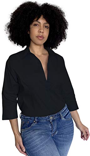 Button Down Shirts for Women 3 4 Sleeve Fitted Dress Shirt and Blouses Work Top (1XL Plus Size, New Black)