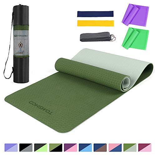 TOMSHOO 1/4In Yoga Mat with Resistance Bands Set, Professional Latex Elastic Bands, Non-Slip Texture Pro Yoga Mat Eco Friendly Exercise Mat Pad with Carrying Strap Mesh Bag for Home Gym Fit Dark green