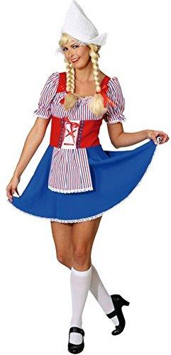NET TOYS Sexy Damen Kostüm Holland Antje Holländerin Kleid Karneval Tracht Niederländerin Trachtenkostüm Holländerinnenkostüm
