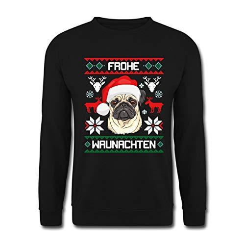 Spreadshirt Frohe Waunachten Mops Weihnachten Unisex Pullover, L, Schwarz