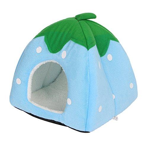 Katzenhöhle von Autone in Erdbeer-Form, weicher Schaumstoff, Höhle für Katzen, Hunde und kleine Haustiere, blau, Large