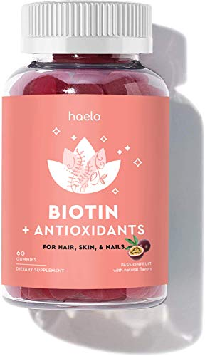 Biotin Gummies with Antioxidants, 60 Gummies (30 Day Supply): Biotin for Healthy Hair, Skin and Nails, Vitamin C for Collagen Production, Vitamin E for Antioxidants, Vegan, Gluten Free, Non-GMO