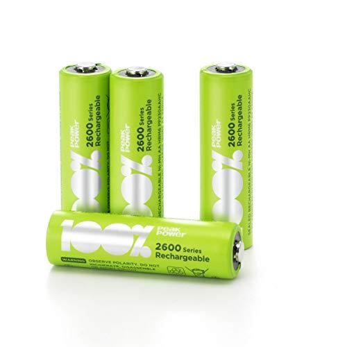 100% PeakPower Akkus AA, Serie 2600 (min. 2.300mAh), NiMH, 4 Stück Akku-Batterien wiederaufladbar, 1,2 Volt (1,2V), LSD Technologie, Ready-to-Use