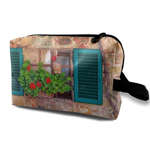 Bolsa de almacenamiento de lona de maquillaje de viaje, bolso de aseo portátil, pequeño organizador de cosméticos para niñas, mujeres, hombres, pared de piedra antigua con flores