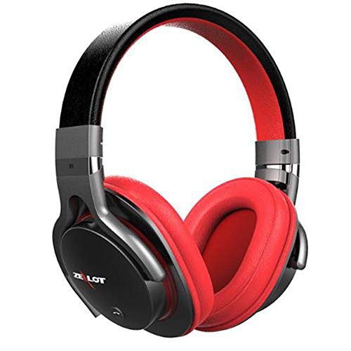 Guoqing Kabelloses kabelgebundenes Bluetooth, kabelloser Sport-HD-Stereo-Sound mit Mikrofon- / TF-Karte, Passive Noise Cancelling-Headsets, Lauftraining für Männer, Frauen,Red