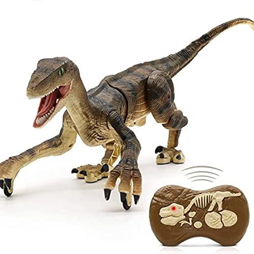 FLY FLQ Dinosaurio de Control Remoto, Juguete de Dinosaurio, Juguete Electrónico con Luz y Sonido LED, Robot T-Rex Realista,Brown
