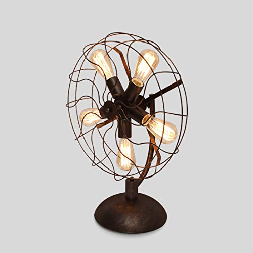 Chuen Lung Vintage Industrial Style metalen ventilator tafellamp pipe tafel bureaulamp voor woonkamer/koffielades
