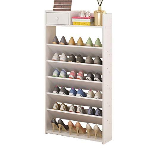 BRFDC Zapatero Shoe Racks Estante de Almacenamiento de Zapatos de 7 Niveles con cajones Zapatos Organizador Mantener de pie Color de Arce (Color : White)