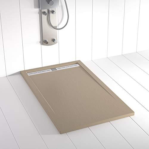 Shower Online Plato de ducha Resina FLOW - 80x140 - Textura Pizarra - Antideslizante - Todas las medidas disponibles - Incluye Rejilla Inox y Sifón - Moka S 4010 Y 30 R