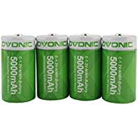 4-Pack OVONIC 1.2V 5000mAh Ni-MH High Capacity Rechargeable C Batteries