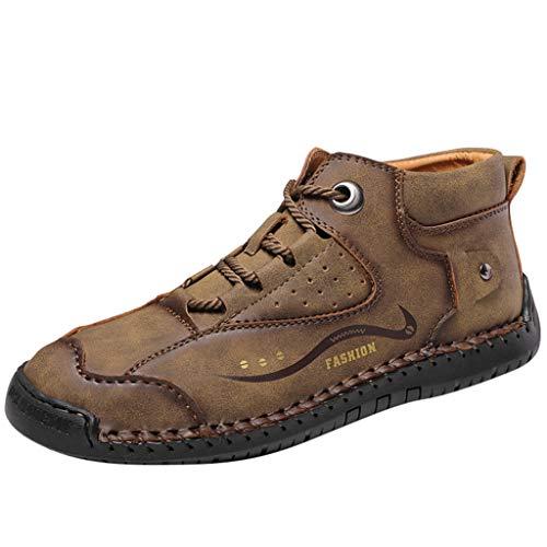 Alwayswin Herren Britischen Stil Lederstiefel Vintage Kurze Stiefel Bequeme Handgenähte Schnürstiefel Freizeitschuhe Flache rutschfeste Stiefeletten Mode Einfarbig Booties Faule Schuhe