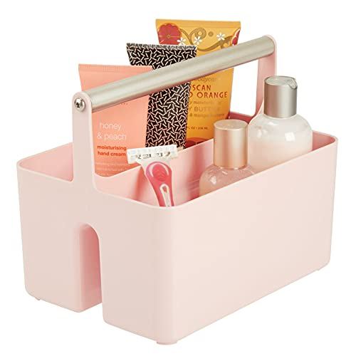mDesign Plastic Portable Storage Organizer Utility Caddy Tote, Divided Basket Bin - Metal Handle for Bathroom, Dorm, Holds Hand Soap, Body Wash, Shampoo, Conditioner, Lotion - Light Pink/Satin
