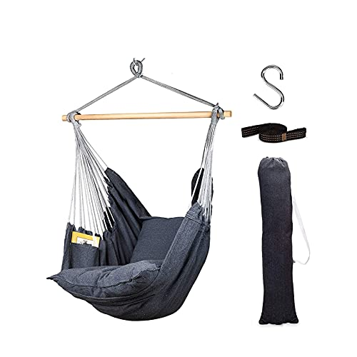 XiYou Hammock Chair Hanging Rope Swing, 2 Cushions Included-Large Hanging Chair with Pocket, Quality Cotton Weave for Superior Comfort,Durability