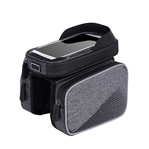 LA-BOOR 6.0 Inch Waterproof Bicycle Bag Touch Screen Bike Bag Top Tube MTB Cycling Riding Frame Front Head Bags Cell Phone,Black