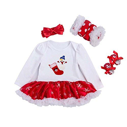 BabyPreg Niñas bebés Mi Primera Navidad Traje de Santa del Partido del Vestido 4PCS (Calcetines, S/3-6 Mes)