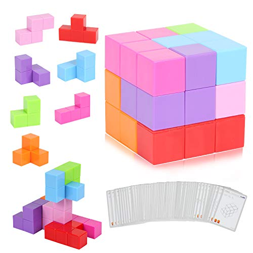 CMaster Magic Magnetic Building Block with 7pcs Magnetic Magic Cube,Assorted ColorsSimple DesignEducational Magnetic Tiles for Kids Stress Relief and Develop Intelligence Ideal Gift for Kids