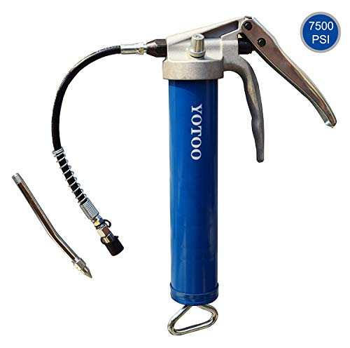 YOTOO Grease Gun 7500 PSI Heavy Duty Pistol Grip Grease Guns with Reinforced Flexible Hose and Rigid Extension Metal Tube