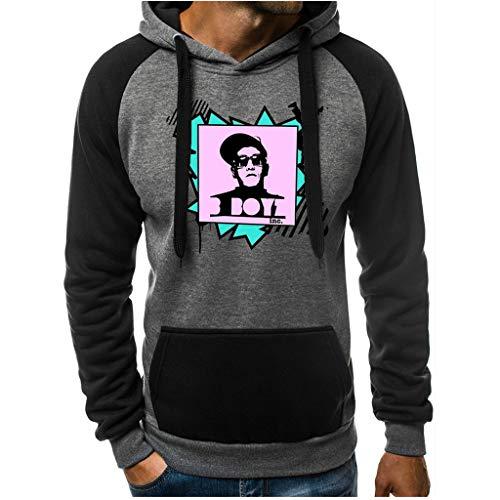KPILP Kapuzenpullover Herren Sweatshirt Mode Pullover Hoodie Drucken Casual Streetwear Hooded Outdoor Tops Herbst Winter Basic Sweatshirt mit Taschen