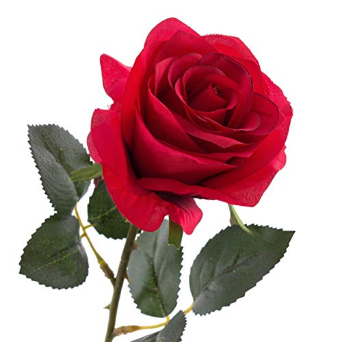 artplants.de Künstliche Rose Simony, rot, Textil, 45cm, Ø 8cm - Kunstblume - 3
