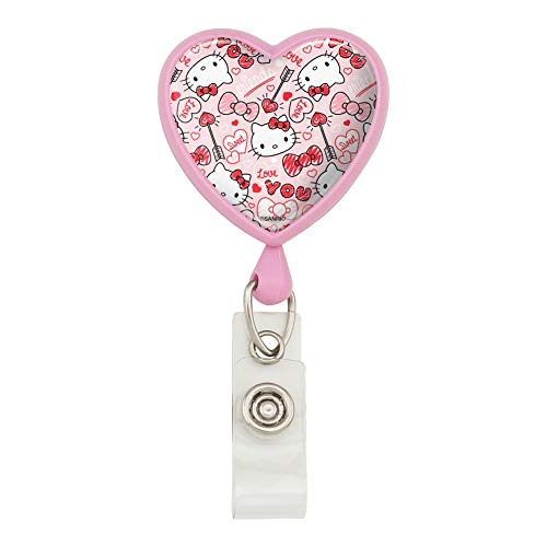 Hello Kitty Love You Valentine's Pattern Heart Lanyard Retractable Reel Badge ID Card Holder