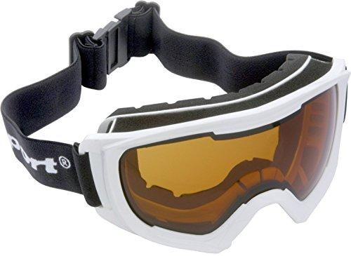Ultrasport Skibrille Race Edition, Snowboardbrille Mit Anti-Fog Beschichtung Innen, Schnellverschluss, Größe Individuell Einstellbar, Inkl. Micro-Fiber Tuch & Beutel, 100 % Uv-Schutz, Weiß/Orange