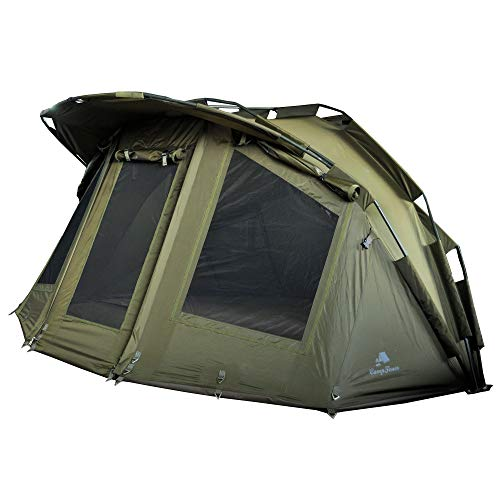CampFeuer Angelzelt Storm | 2 Mann Karpfenzelt für Angler mit 3000 mm Wassersäule | wasserdicht | 2 Mann Bivvy Tent Anglerzelt | Fischerzelt mit Boden