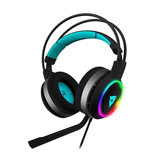 Thunder X3 AH7HEXC - Auriculares para juegos (6 efectos de luz. Led Halo, 7.1 sonido envolvente, controladores de 50 mm, microfono con cancelacion de ruido) color negro y cyan