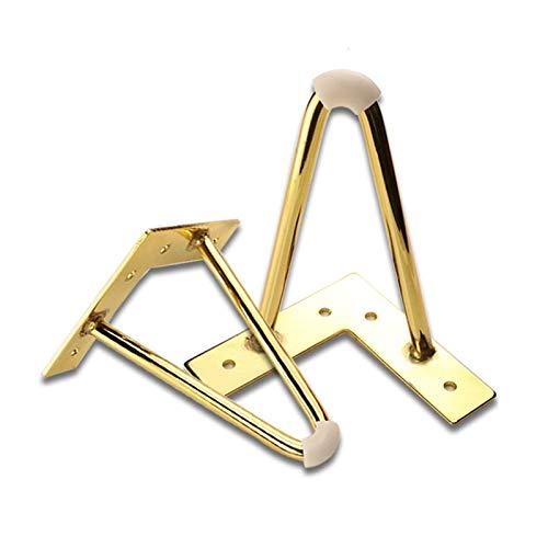 XBSXP - Patas de metal para muebles, patas de metal, antideslizante, resistente al desgaste, repuesto dorado para sofá, mesa, armario, consola de TV, gabinete, mesita de acero, patas muebles, 4,15 cm