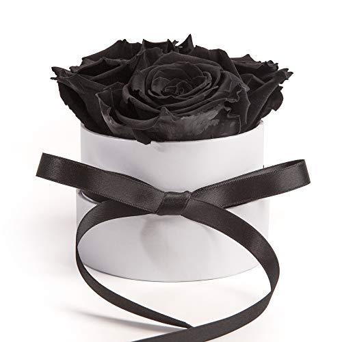 ROSEMARIE SCHULZ Heidelberg Rosenbox Flowerbox weiß rund konservierte Rosen - 3 Infinity Rosen Blumengruß Geschenk für Frauen (Schwarz, Medium)