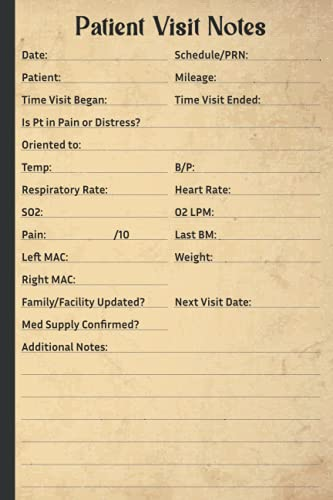 Patient Visit Notes: A Notebook for Hospice Nurses, Hospice Nurse Visit Book