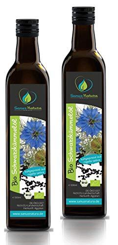 Sanus Natura Bio Schwarzkümmelöl 1000 ml (2x 500ml) Ungefiltert kaltgepresst mühlenfrisch direkt vom Hersteller