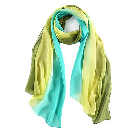 WZTP elegante pañuelo de mujer, de seda suave, de playa, bloque de color