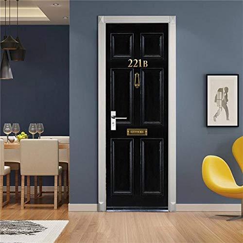 DFKJ Etiqueta engomada Visual de la Puerta 3D Papel Tapiz de decoración del hogar Impermeable Autoadhesivo Cartel decoración calcomanía Cabina de teléfono Mural A10 85x215cm