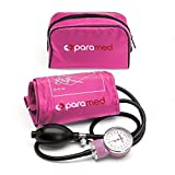 PARAMED Aneroid Sphygmomanometer – Manual Blood Pressure Cuff with Universal Cuff 8.7 - 16.5' and D-Ring – Carrying Case in The kit – Pink – Stethoscope Not Included
