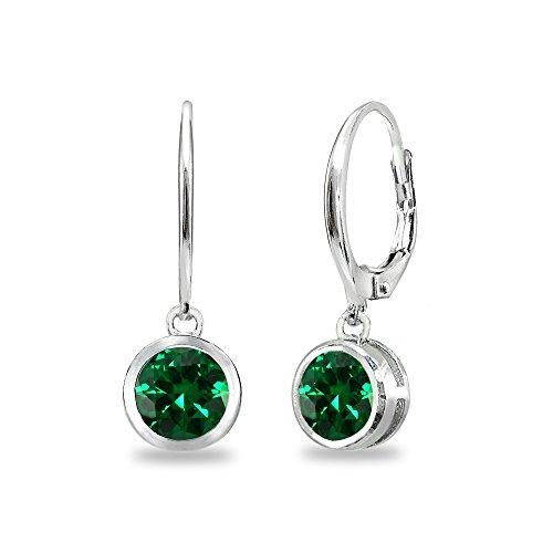 Sterling Silver Synthetic Green Quartz 6mm Round Bezel-Set Dangle Leverback Earrings for Women Teen Girls