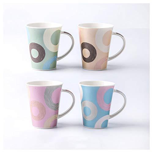 Tazas de Espresso Conjunto creativo de gran capacidad Copa de cerámica Sala de estar Copa de agua para el hogar Patrón pintado a mano Copa de café adecuada para café, leche, yogurt (4 piezas) Juegos d