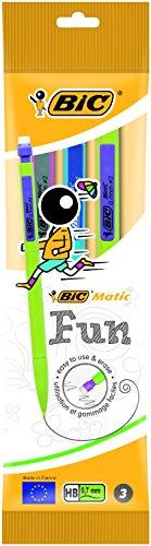 BIC Matic Fun 0,7 HB Portaminas Automático – Diseño en colores Surtidos, Blíster de 3 unidades