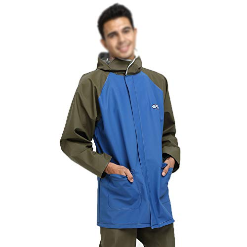 Rain Poncho Portable Reusable Rain Ponchos 100% Waterproof for Adults&Children Clothing-Best for Camping, Hiking, Outdoor, Disney, Barbecue,Blue,XXL