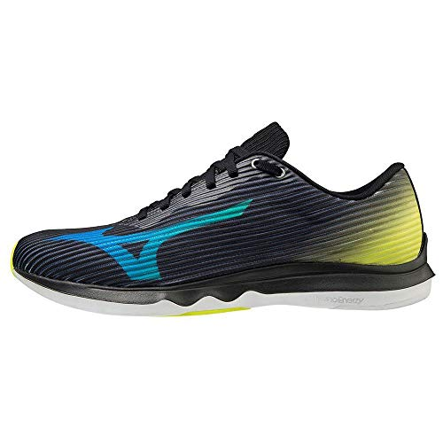 Mizuno Wave Shadow 4, Zapatillas para Correr de Carretera Unisex Adulto, Black/Blue/Safety Yellow, 44 EU