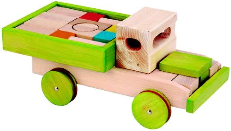 EverEarth - Wooden 22 piece Block Set With Push Along Truck B003E8VSM4 | Schöne Farbe