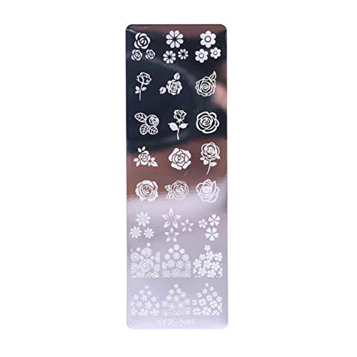 Timetided Nail Art Stamp Plantilla de estampado de uñas Flor Geometría Animales DIY Diseños de uñas Manicura Imagen Placa Plantilla