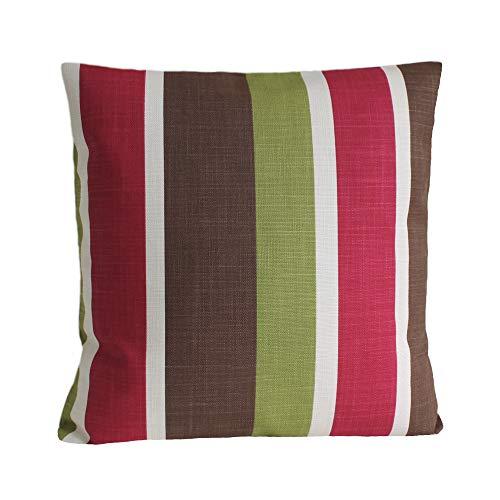 Funda de almohada de rayas de Unknow, 16x16 pulgadas, rojo, verde, marrón, funda de cojín, color rojo