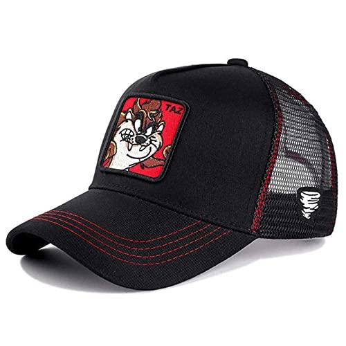 MONGE Gorra de malla de anime estilo caliente sombrero de camionero visera curvada Gorras Casquette, TAZ Negro Rojo, 54cm-62cm